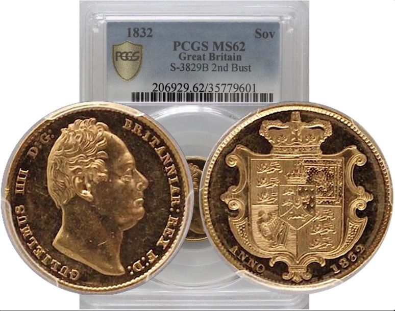 Great Britain. William IV gold Sovereign 1832, KM 717, S 3829B. Highly lustrous …