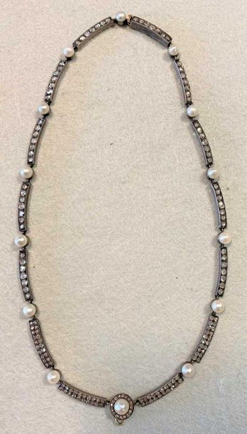 The collar comprising of fourteen bars each set with two rows of rose cut diamon…