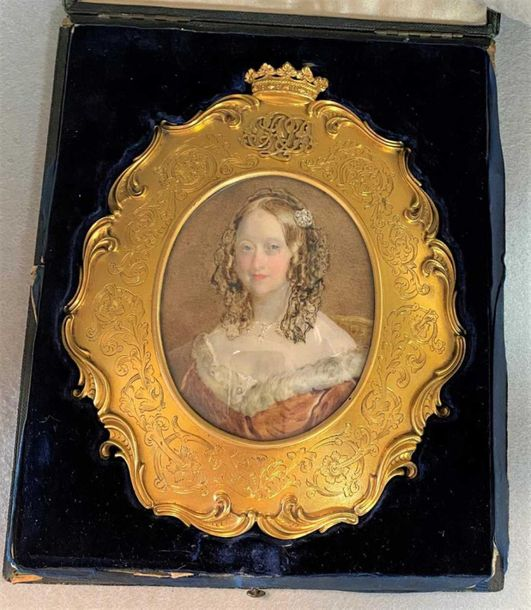 Watercolour on ivory; the seated Duchess with long curling brown hair adorned wi…
