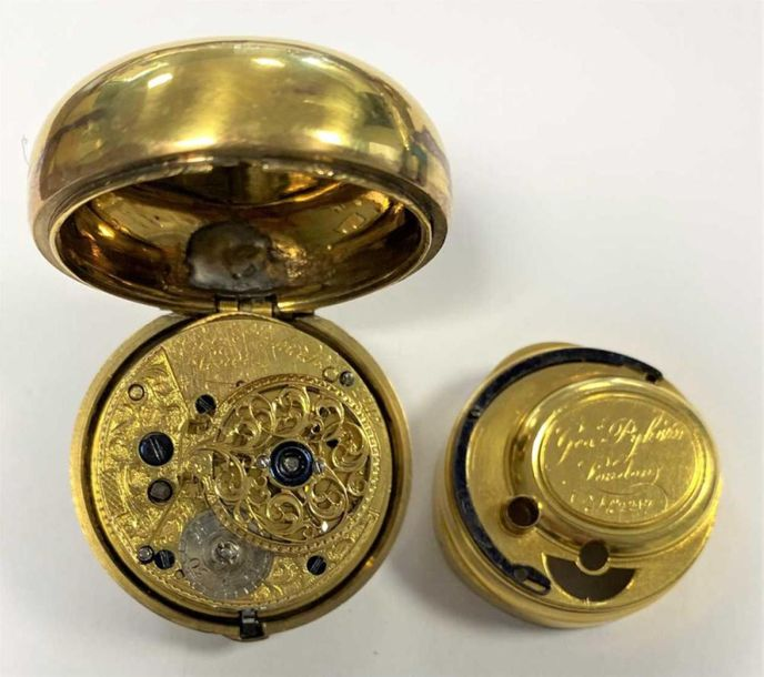The outer (and inner) case of probably brass, the lid activated by push button, …