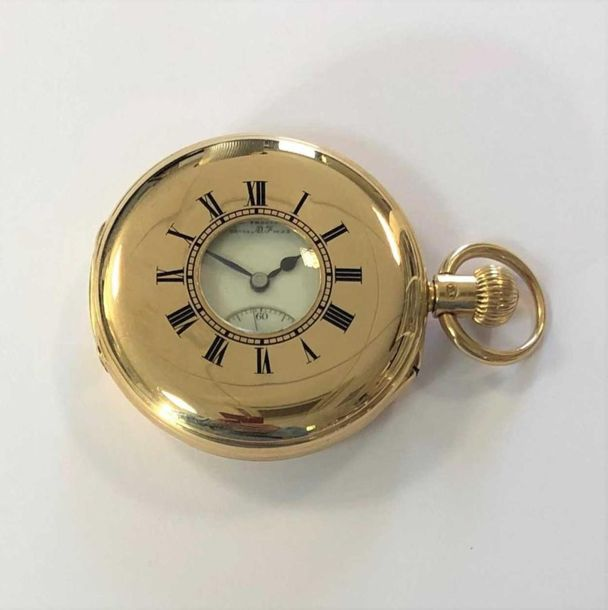 C1900, the front lid with blue enamel Roman numerals and chemin de fer chapter r…