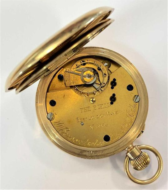 C1934, the signed white dial, 40mm diameter, with black Roman numerals, gold col…
