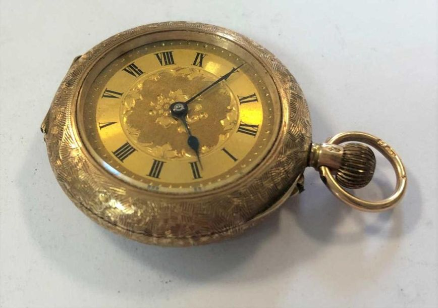 C1908, the unsigned gilt floral dial, 25mm diameter, with black Roman numerals, …
