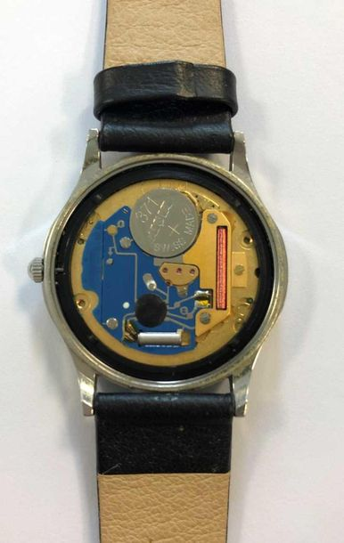 C1990, the signed white dial, 28mm diameter, with black Roman numerals and blued…