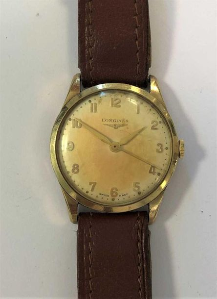 C1953, the signed cream coloured dial, 28mm diameter, with gold coloured Arabic …