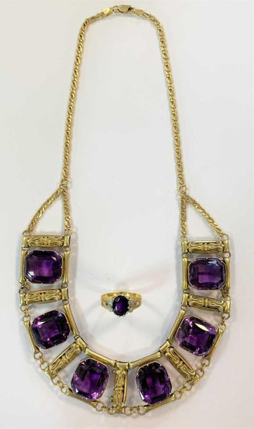 The collar with a central row of six rubover set octagonal faceted amethysts, 18…