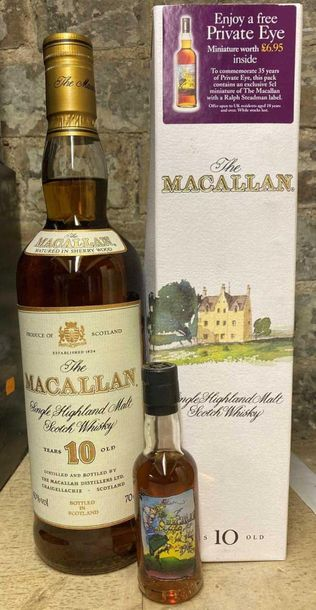 The Macallan 10 year old single malt Scotch Whisky with Private Eye miniature de…