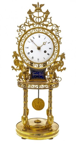 Empire PendulumFrance, probably around 1780/1800. Bronze, gilded. Movement with …