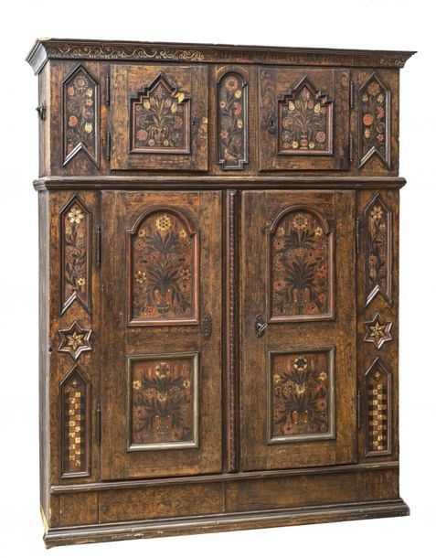 Peasant cupboardBernese Oberland. Softwood, painted. Date 1775. 197 x 150 x 50 c…