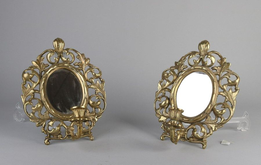2x Wall mirror with candlestick Two brass wall sconces with mirrors. Baroque sty…