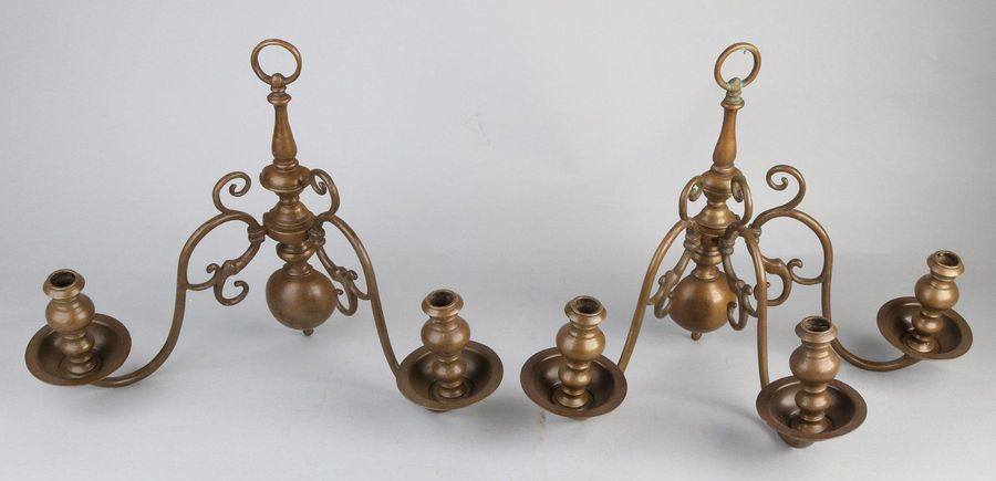2x 18th century wall sconces Two 18th century Dutch bronze Baroque wall sconces.…
