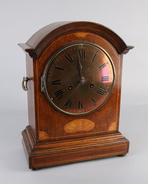 English table clock Large antique English oak table clock with intarsia and copp…