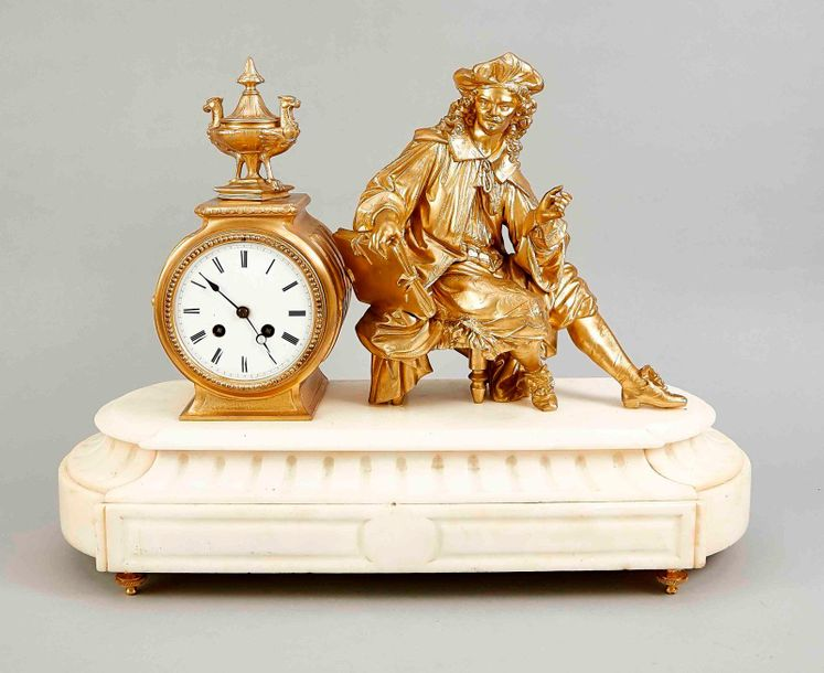 French mantel clock, 1870 Large antique French white marble mantel clock, man wi…