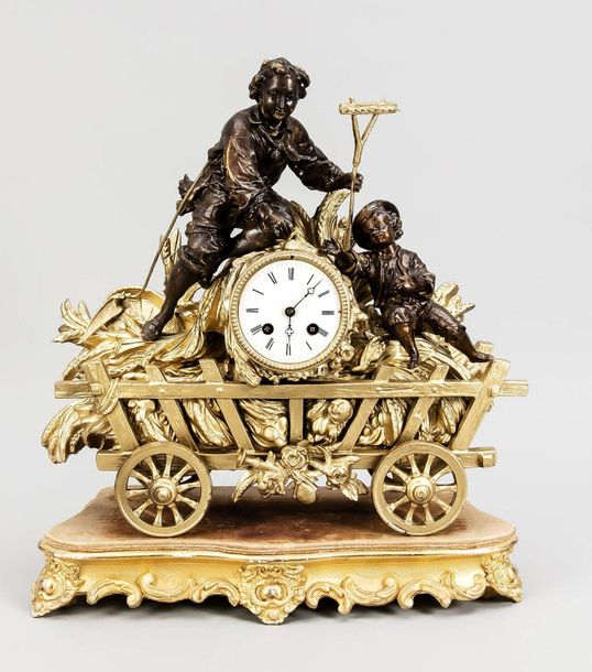 French mantel clock, 1860 Antique French mantel clock. Composition metal. 19th c…