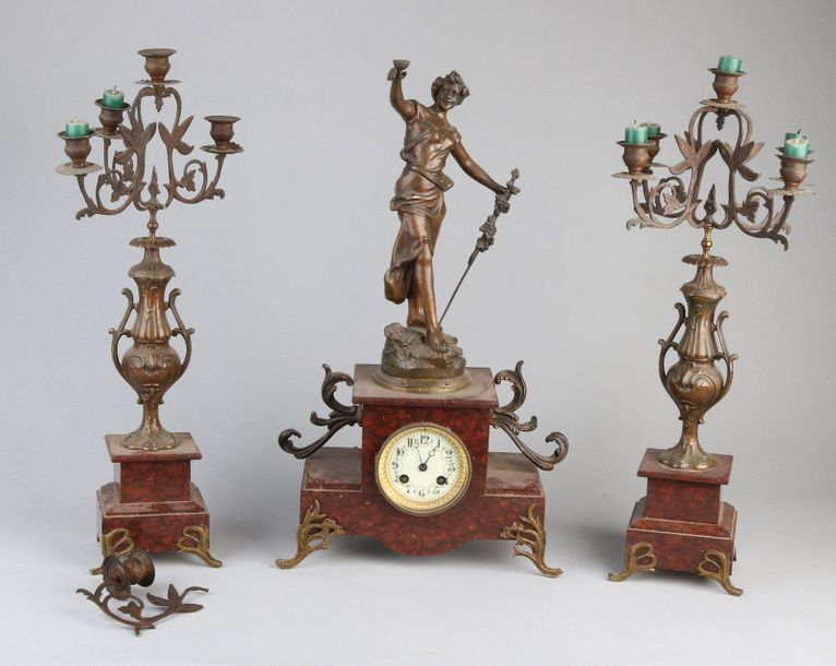 French clock set Antique French composition metal clock set with red marble. Soi…