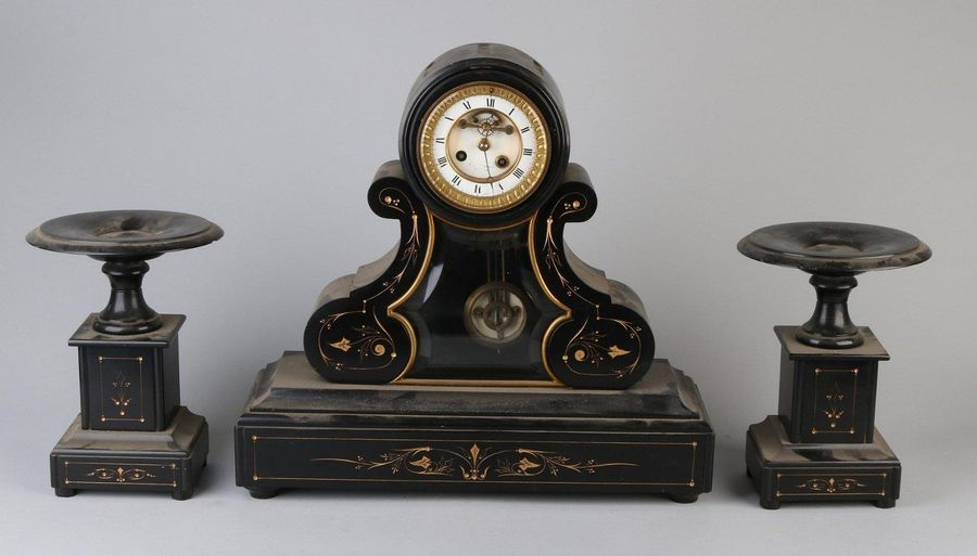 French clock set Heavy black marble clock set with brocot corridor. Eight day mo…