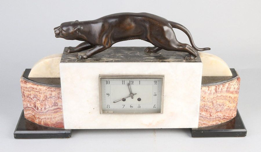 Art Deco clock Large antique French marble clock with panther. Art Deco. Circa 1…