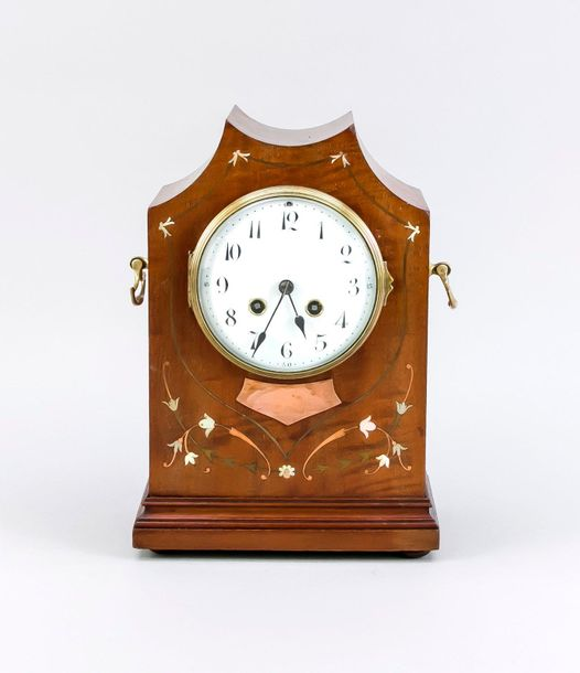 French table clock, 1900 Antique French mahogany table clock with mother of pear…