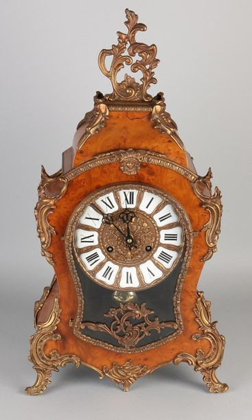 Boulle clock French style table clock with burr walnut effect. Second half of th…