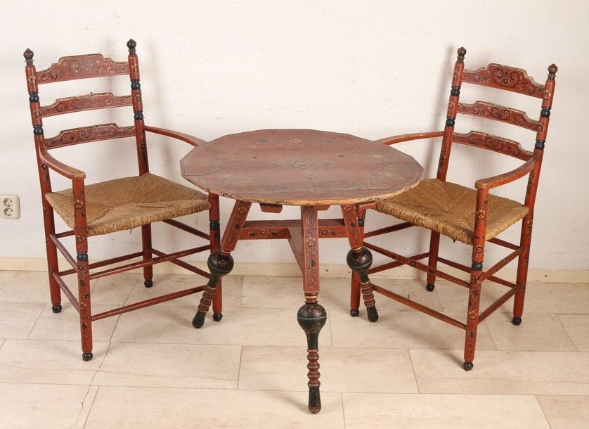 Hindelopen set 19th century Hindelopen table with chairs. Original painting. Cir…