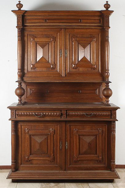 Oak sideboard Solid oak French sideboard with prism shaped panels in the doors. …