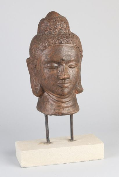 Buddha head on stand Oriental bronze colored terracotta Buddha head on stand. Di…