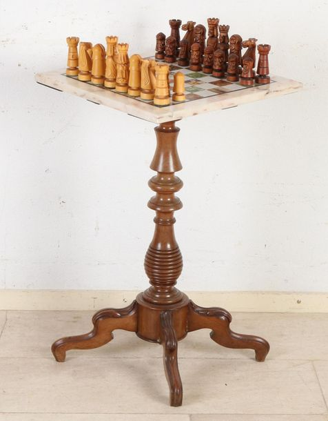 Antique Louis Philippe chess table with white marble chess top and with chess se…