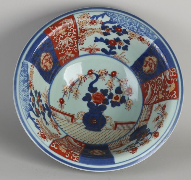 Large Imari porcelain bowl with floral / bird / gold decoration. Marked Victoria…