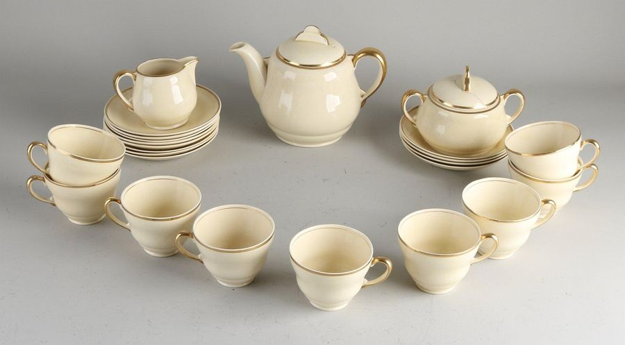 Antique (part) English Art Deco tea service. Signed Clarice Cliff. Circa 1930. C…