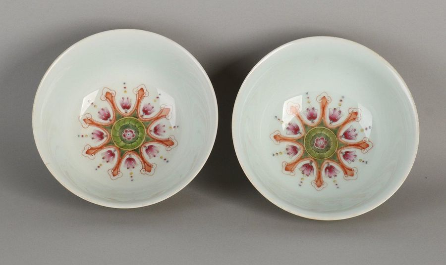 Two very detailed Chinese porcelain Family Rose bowls with yellow glaze, floral …