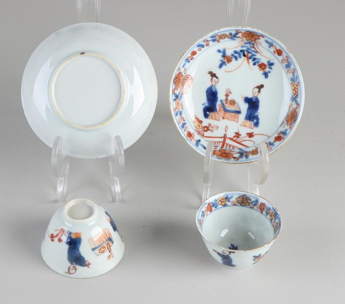 Two 18th century Chinese porcelain cups and saucers with figures / floral / gold…