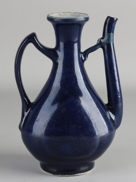 Early Chinese porcelain pitcher with blue glaze and separate bottom mark. Ming. …