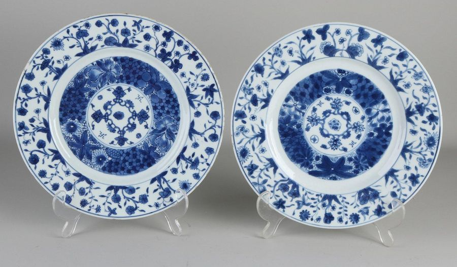 Two 17th 18th century Chinese porcelain plates with floral decoration.With bott…