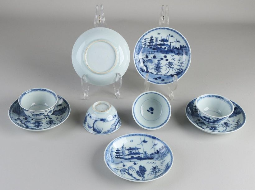 Five 19th century Chinese porcelain cups + four saucers with landscape / pagoda …