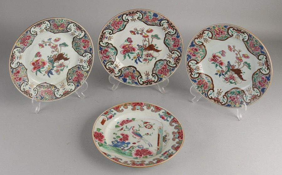 Four 18th 19th century Chinese porcelain Family Rose plates with floral decorati…