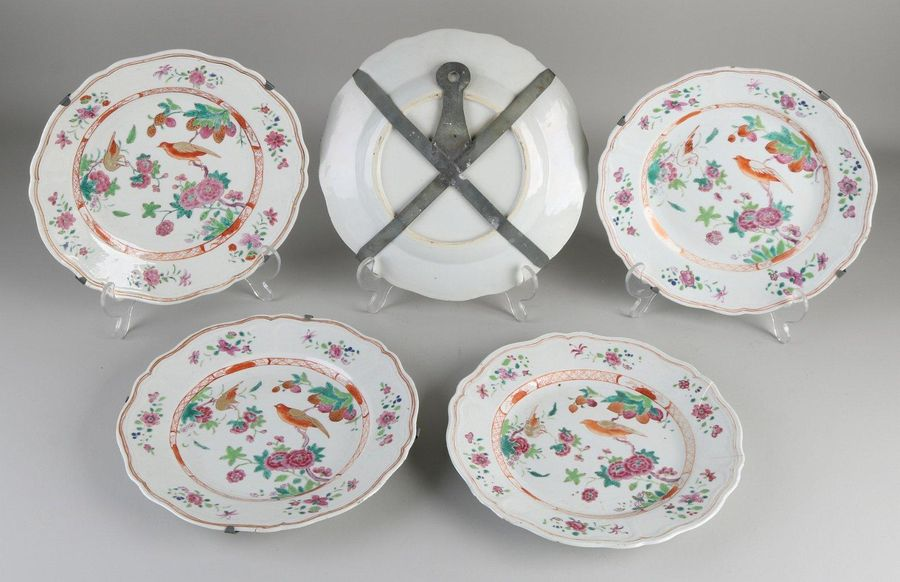 Five 18th century Chinese porcelain Family Rose plates with floral / bird / gold…