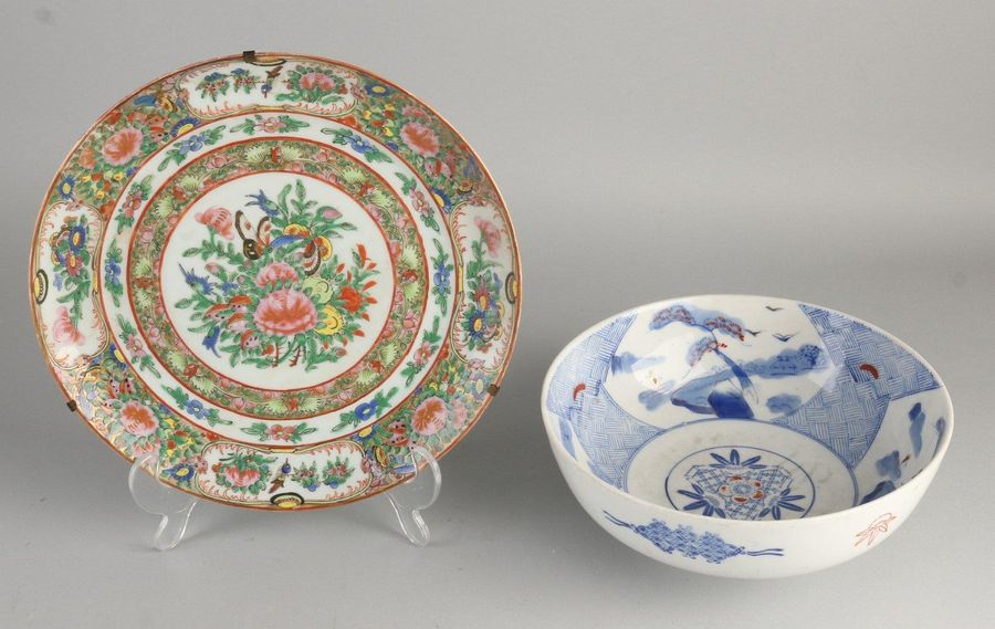 Twice Chinese porcelain.Consisting of;Blue and white bowl, floral / landscape …