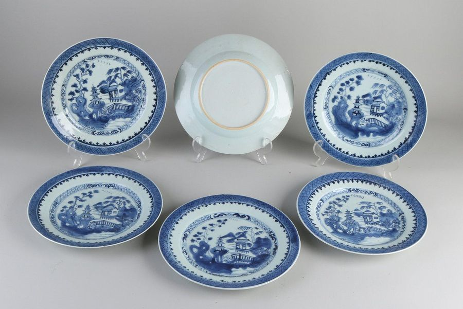 Six 18th century Chinese porcelain plates with landscape decoration.Three plate…