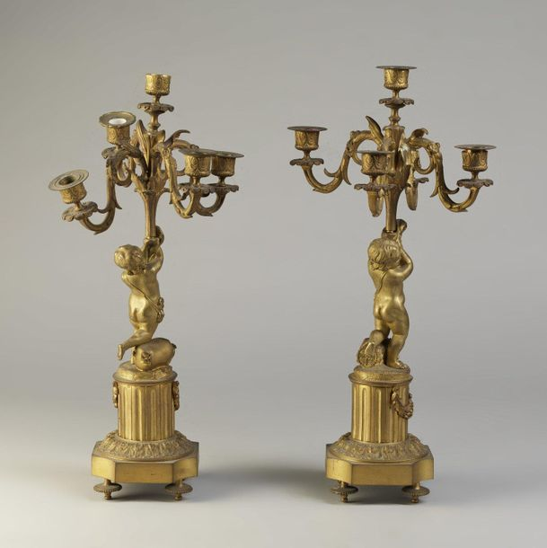 FRANCE 19th CENTURY FRANCE 19th CENTURY Pair of gilded chiseled bronze candlesti…