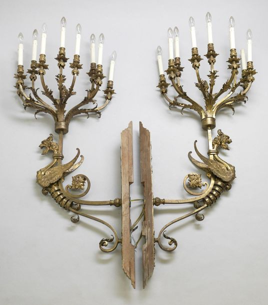 FRANCE 19th CENTURY FRANCE 19th CENTURY Pair of gilded bronze candlesticks with …