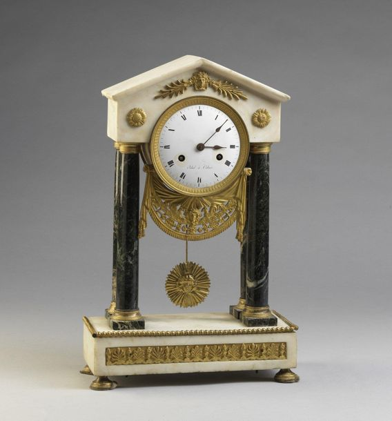 "FRANCE 19th CENTURY FRANCE 19th CENTURY ""Temple"" table clock in different marble…"