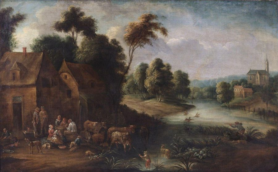 17th CENTURY FLEMISH ARTIST 17th CENTURY FLEMISH ARTIST Landscape with cows at a…