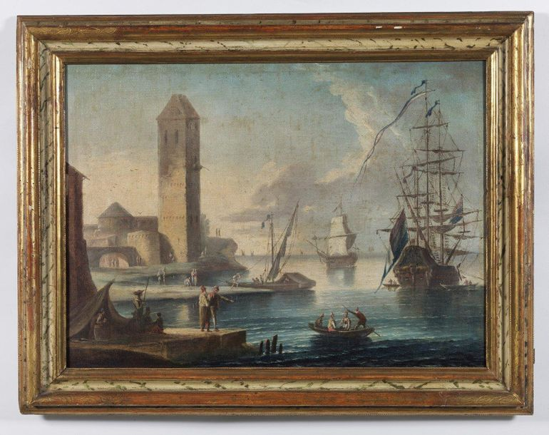 17th CENTURY ARTIST 17th CENTURY ARTIST Seascape with sailing ship, characters a…