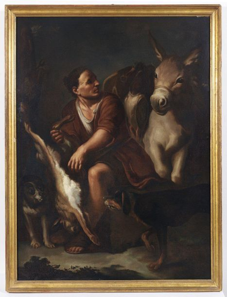 ARTISTA DEL XIX SECOLO ARTISTA DEL XIX SECOLO Sheperd with donkey, hare and dog.…