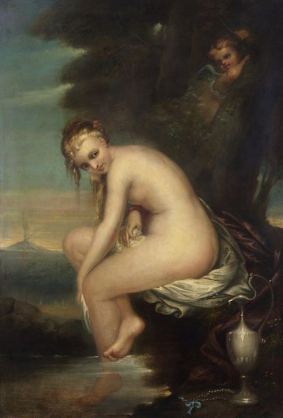 ARTISTA DEL XIX SECOLO ARTISTA DEL XIX SECOLO Bather with Vesuvius in the backgr…