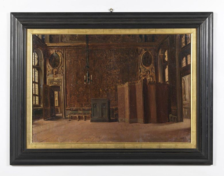 19th CENTURY ARTIST 19th CENTURY ARTIST A pair of painting depicting the interio…