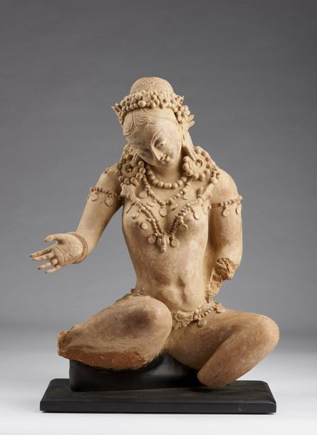 Indian Art. A large terracotta figure of Devata Pakistan, Hund area, 6th 7th cen…