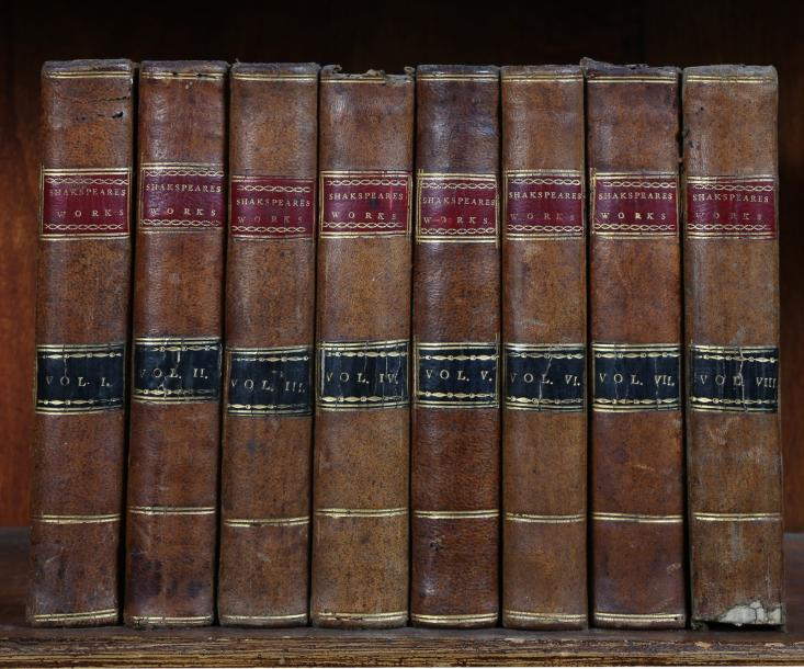 [AMERICANA] SHAKESPEARE (William) The plays and poems. 8 vol. pt in-8 de XLVIII-384-412-432-447-392-388-452-304-IV-128…