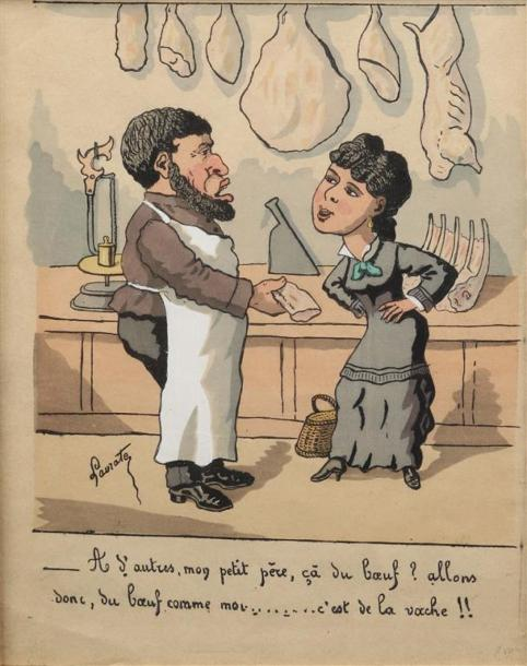 [Caricatures]. LE BOUCHER. LE TRAITEUR. LAVRATE Edmond (1829-1888). 2 dessins aquarellés.…