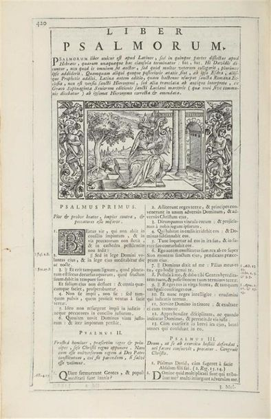 * [BIBLE illustrée. Latin. 1723]. Biblia sacra Vulgatae Éditionis, notis illustrata,…